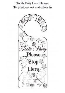 Printable door hanger asking the Tooth Fairy to stop and