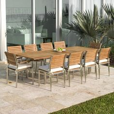 11 piece Vogue Dining Set includes 10 Teak and Stainless Steel Chairs and Large Rectangular Teak Table with Stainless Steel Frame. Teak Garden Furniture, Patio Furniture Sets, Furniture Stores, Teak Dining Table, Dining Set, Dining Chairs, Dining Room, Westminster Teak, Outdoor Tables And Chairs