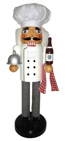 Chef with Bottle of Wine Wooden Christmas Nutcracker 14 Inch