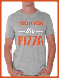 Awkward Styles Men's I Do It For the Pizza T shirt Tops Funny Gym Pizza Lover Grey L - Workout shirts (*Partner-Link)