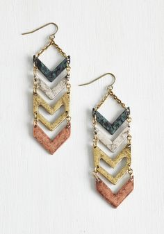 Chevron My Way Over Earrings. As you jet out the door to the housewarming party, you grab these angular earrings for panache in a flash! #multi #modcloth