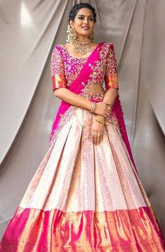 Bridal Lehenga Colour Palettes and What They Represent Indian Fashion Dresses, Indian Bridal Outfits, Dress Indian Style, Indian Designer Outfits, Indian Gowns, Wedding Outfits, Indian Wear, Fashion Clothes, Lehenga Saree Design