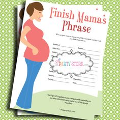 Baby shower game - finish the phrase