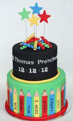 preschool graduation cake- because next year I'll need this! Fondant Cakes, Cupcake Cakes, Teacher Cakes, Dummy Cake, School Cake, Gateaux Cake, Kindergarten Graduation, Occasion Cakes, Cute Cakes