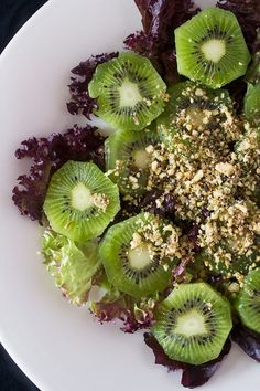 Kiwi & Homemade Dukkah Salad - a combination of nuts, herbs and spices goes particularly well with kiwi fruit.