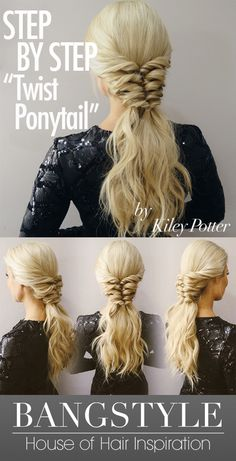 the Look! Twist Ponytail Tutorial by Kiley Potter Hello, holiday hair! We love this twisted ponytail tutorial from Kiley Potter on Bangstyle! We love this twisted ponytail tutorial from Kiley Potter on Bangstyle! Dance Hairstyles, Holiday Hairstyles, Party Hairstyles, Ponytail Hairstyles, Twisted Hairstyles, Travel Hairstyles, Beautiful Hairstyles, Twist Ponytail, Ponytail Styles