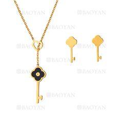 collar y aretes de trebol con llave de dorado en acero inoxidable-SSNEG483485