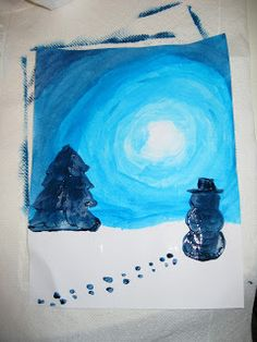 Well the last two weeks have been busy at our school with 4 days of skiing. We lucked out and had beautiful weather with around degrees C. Christmas Art For Kids, Christmas Crafts, Winter Activities, Art Activities, Grade 1 Art, Winter Art Projects, Painting Snow, Hand Art, Art Club