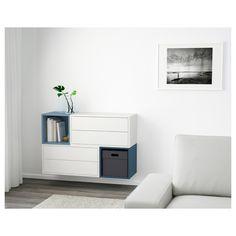 EKET Wall-mounted cabinet combination - white - IKEA/ this would be perfect- off the floor and provides storage. Painted Drawers, Home Furnishings, Wall Mounted Cabinet, Flexible Furniture, Interior Design, Home, Interior, Eket, Furniture