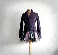 Image of Purple Shabby Style Women's Jacket Tattered Upcycled Gypsy Coat Lagenlook Bohemian Blazer M
