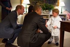 Prince George of Cambridge Meets President Barack Obama and First Lady Michelle Obama. President Barack Obama and First Lady Michelle Obama arrived for an informal dinner at Kensington Palace with the Prince William and Duchess Catherine and Prince Harry tonight. As a two-year-old royal, Prince George has already met some of the world's most famous people in his short life. Prince George was pictured shaking hands with the President and playing on his rocking horse.