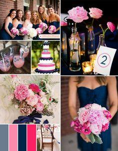 hot pink fuchsia and navy blue summer wedding color ideas #pinkweddingideas #weddingcolors #elegantweddinginvites