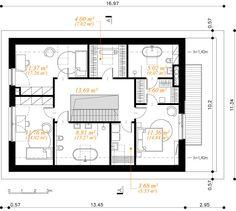 Modny III - dom parterowy z poddaszem użytkowym i garażem   doomo Barn House Plans, Construction, Architect House, Prefab Homes, Next At Home, Floor Plans, House Design, How To Plan, Arquitetura