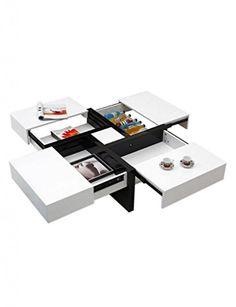 SA00020/SA00029 Stilvolle Couchtisch 4 Schubladen Integriertes Speicherraum-Dekor-moderne Schwarz&weiß