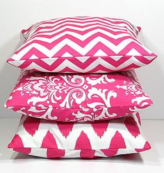 "$46 probably getting these for my dressing room----Hot PINK Pillows Decorative Pillows TRIO chevron, damask, ikat set of THREE 16x16 inch Throw Pillow Covers 16"" pink, white Zig Zag"