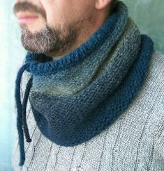 Hand Knitted Cowl for Men Wool Chunky Snood Neckwarmer for