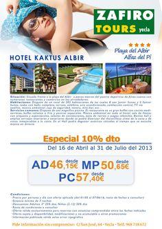 Zafiro tours en Yecla te ofrece noche de hotel de 4* en Alfaz del Pi desde 46,15 € ¿te apetece un sitio tranquilo para pasar el fin de semana?