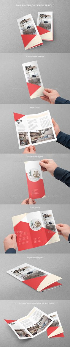 Simple Interior Design Trifold  — InDesign Template #brochure #modern • Download ➝ https://graphicriver.net/item/simple-interior-design-trifold/18092857?ref=pxcr
