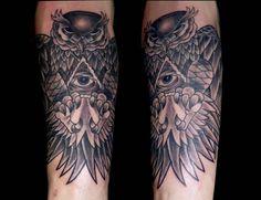 tatuaje búho black grey antebrazo www.13depicas.com