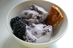 Blackberry lavender goat milk ice cream... am going to try to adapt and use coconut milk and blueberries.