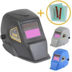 Linxor France ® Masque de soudure Automatique 9 à 13 DIN + 2 verres de protection offerts / Noir, Gris ou Bleu / Norme EN379 et EN175 - EGK97 - Outillage