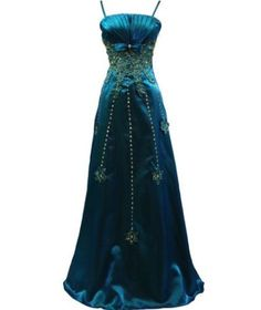 NEW Blue full length evening dress with adjustable straps lace, sequin, and gold sparkle. UK 18. Click to buy. Free shipping.