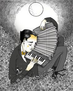Serenade In The Night by ~homesickpipe on deviantART Deviant Art, Accordion Instrument, Music Drawings, Music Illustration, Music Aesthetic, Musical, Vintage, Night, Painting