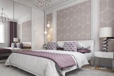 """Дизайн интерьера спальни в трёхкомнатной квартире. Современный стиль. Розовый, бежевый, белый. Студия дизайна """"Печёный""""."""