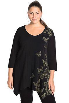 Ladies Black Butterfly Print Plus Size Top