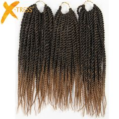 "X-TRESS Synthetic Hair Senegalese Twist Braiding Hair Extensions 3Pcs/Pack 12"" 81 Strands Heat Resistant Ombre Crochet Braids"