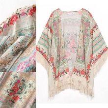 Women Floral Loose Tassels Kimono Shawl Cardigan Summer Coat Jacket Cape…