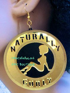 Mirror Laser Cut  Acrylic Disc Sexy Afro Pinup Girl Earrings - NATURALLY CURLY