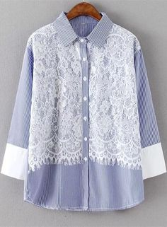 Stripe Lace Splicing Shirt