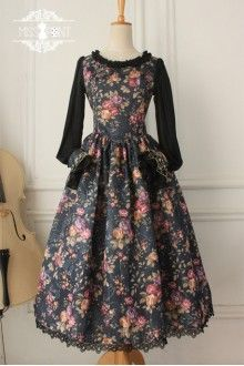 Vintage Thorns of Flowers Long Sleeves Gothic Lolita Dress