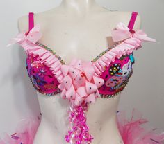 4898b18947438 Happy Birthday Pink Rave Bra Ruffles Bows Rainbow by RevoltCouture Pink  Rave Bra