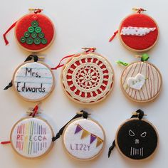 Eight ornaments made from embroidery hoops!  http://www.craftsunleashed.com/index.php/seasonal/hoop-handmade-christmas-ornaments/