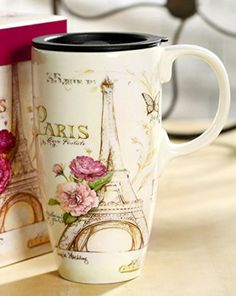 A Ting Tall Ceramic Travel Mug 17 oz. Sealed Lid With Gift Box (paris) Paris home décor is cute, trendy and adorable.  In fact, it is perfect for anyone who has or wants to visit Pairs.  Paris themed home décor is really trendy and popular all over the world.  For this reason, I really love Paris wall art, Eiffel Tower bedding not to mention other cute Parisian decorative accents.  Any room of your home living room, bedroom, kitchen, and even bathrooms can look charming, unique and elegant.