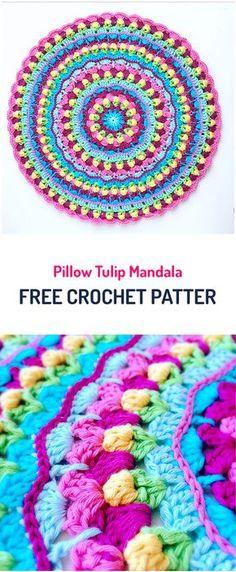 Pillow Tulip Mandala Free Crochet Pattern #crochet #pillow #crafts #home #homedecor #handmade #homemade #yarn #diy