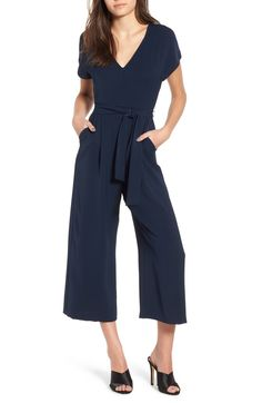 Free shipping and returns on ASTR the Label Belted Jumpsuit at Nordstrom.com. An elegant sash cinches the flattering silhouette of a V-necked jumpsuit with cropped wide legs that's ready for warm-weather soirées.