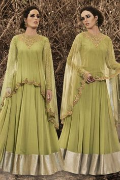 Liril cape Georgette semi stitch anarkali churidar suit. Neck embroidered with embroidered work. Round neck, Floor length, full sleeves kameez. Liril santoon. Liril chiffon dupatta with Embroidered work. Product are available in 34,36,38,40 sizes. It is perfect for Festival Wear,Party Wear.  Andaaz Fashion is the most popular designer wear online ethnic shop brands in MY AL. http://www.andaazfashion.com.my/salwar-kameez/anarkali-suits/