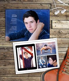 Graduation Announcements for Guys Photography Templates by SavantDesign