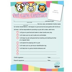 3 Cheers for Animals - Pet Responsibility Chart and Contract  {Printables}
