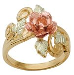 Black Hills Gold Wedding Tri-Colored Gold Black Hills Wide Rose Ring - features green gold rose gold leaves accented with scrolls a stunning rose. This wide Black Hills gold ring is approx wide. Crafted entirely from yellow gold, and rose green gold. Black Hills Gold Jewelry, Silver Jewelry, Fine Jewelry, Natural Jewelry, Heart Jewelry, Unique Jewelry, Metal Jewelry, Jewelry Box, Jewelry Accessories