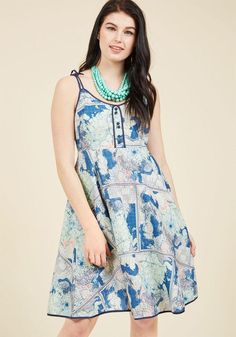 #AdoreWe #ModCloth ModCloth Waving From the Waterfront A-Line Dress in Maps - AdoreWe.com