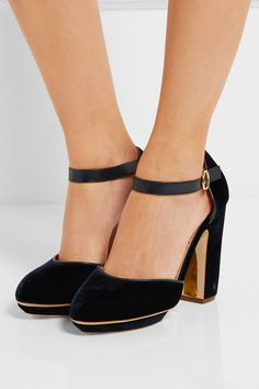 Block heel measures approximately 110mm/ 4.5 inches with a 20mm/ 1 inch platform Midnight-blue velvet and leather Buckle-fastening ankle strap Made in ItalyLarge to size. See Size & Fit notes.
