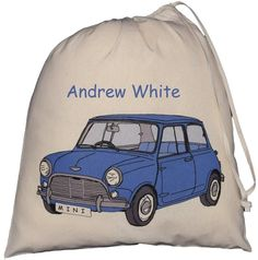 Personalised Mini  Large Drawstring Bag - Blue