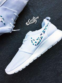 Custom Nike Roshe Run sneakers for women, triangles, purple, pink, teal, blue trendy design, all white nike roshe
