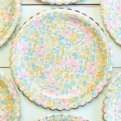 pink teal and gold baby shower paper plates and napkins | Paper Party Plates, Dinner Rounds, Scalloped, 9in, Floral Pattern, 8Pk