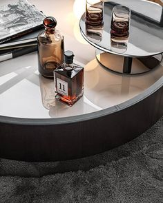 Designed to resemble an oversize tray, Jeff is a swivel low table, 120 cm in diameter, which makes a striking impression. Coffee Table Styling, Decorating Coffee Tables, Interior Styling, Interior Decorating, Interior Design, Center Table, A Table, Coffee Table Accessories, Loft