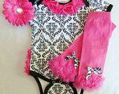 Damask Hot Pink Onesie With Chiffon Rosette Ruffle Butt Baby Girl Gift Set